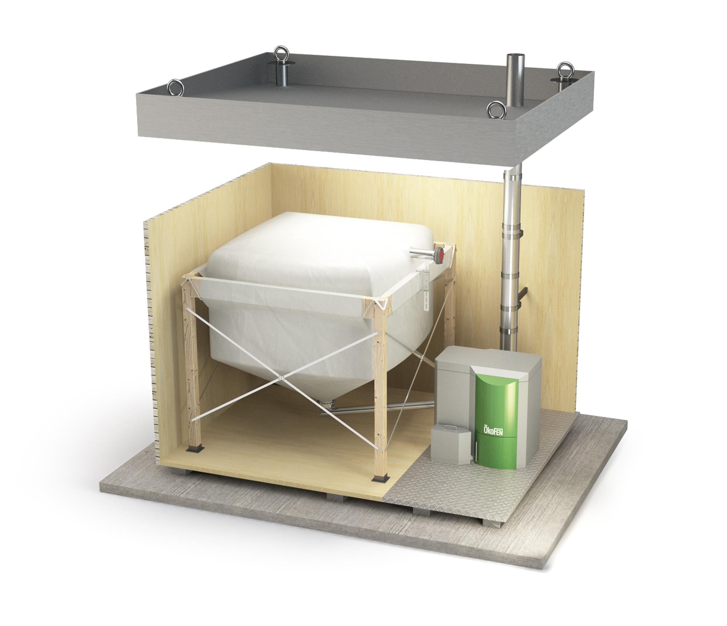 OkeFEN Energy box type A - a boiler cabin for a single home.